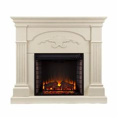 Southern Enterprises Sicilian Harvest Electric Fireplace in Ivory, Transitional Best Electric Fireplace, Wall Mount Electric Fireplace, Fireplace Tv Stand, Faux Fireplace, Fireplace Inserts, Fireplace Mantels, Standing Fireplace, Fireplace Furniture, Electric Fireplaces