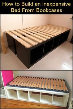 Using bookcases as a bed frame is one easy way to build a bed with storage.