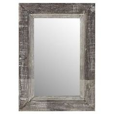 """Invite crisp soothing tones to your foyer, powder room, or living room with this lovely wall mirror. Product: Wall mirror    Construction Material: Wood and mirrored glass      Color: Rustic wood      Features: Can be hung horizontally or vertically      Dimensions: 39"""" H x 27"""" W x 1"""" D"""
