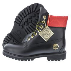 TIMBERLAND 6 INCH PREMIUM BOOT BLACK/RED/GOLD