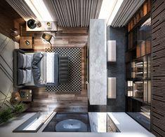 Master bedroom design - Contemporary Monochromatic home on Behance Hotel Room Design, Bedroom Closet Design, Bedroom Wardrobe, Modern Bedroom Design, Master Bedroom Design, Modern Interior Design, Interior Designing, Contemporary Bedroom, Bedroom Designs