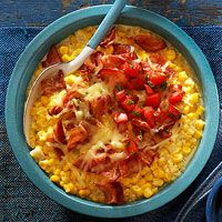 Loaded Creamed Corn with Tomato and Bacon for the slow cooker