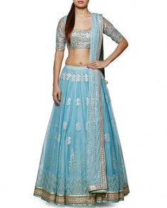 Powder Blue #Gottapatti #Lehenga Set by #anitadongre– Panache Haute Couture