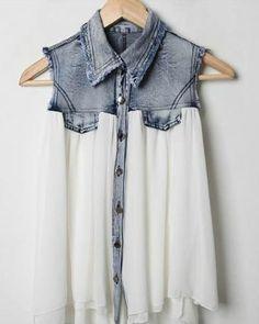 83c149ffedbf shirt blouse top sleveless denim distressed skirt blue shirt half and half  acid wash flowy satin soft white loose button up jeans chiffron t.