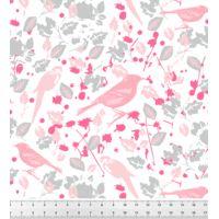 """Tissu """"Tropical Bird"""" (Rose) BÖ GRAPHIK • Popeline 100% Coton • Laize 150 cm • Densité 127 g/m2 • Lavage à 30° en machine • Vendu au mètre 22,00 €"""