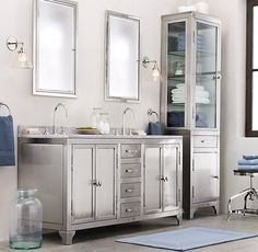RH's Framed Medicine Cabinet:Our expertly crafted  framed inset medicine cabinets perfectly coordinate  with any of our bath collections.