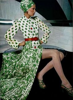 1972 Lanvin green/white blouse + skirt ensemble