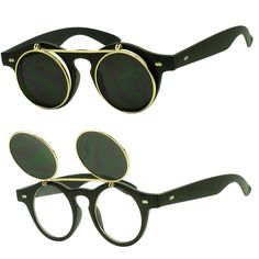 6c6c1c2aac2 Dual Flip Up Gold Brow Bar Small Round Keyhole Nose Retro Rivets 80s  Sunglasses  Unbranded