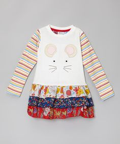Love this White Mouse Flower Dress - Infant, Toddler & Girls by Rainbow Hearts Boutique on #zulily! #zulilyfinds