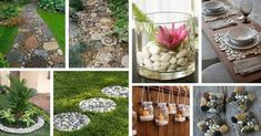Scroll down through the photos below and see the Stunning DIY Pebble Crafts That Will Grab Your Attention for sure. Stone Landscaping, Painted Rocks, Diy And Crafts, Glass Vase, Home And Garden, Table Decorations, Flowers, Plants, Home Decor