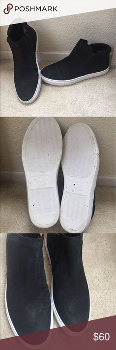 Kenneth Cole Slip On Sneakers Style is Kalvin Hi Top. Wore once and decided it's not the right for for me .  There is a little bit of something( shown in pics)  on the top from being stored but can be easily cleaned.  Not trades . Kenneth Cole Shoes Sneakers