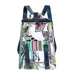 Walking Flower Ethnic Watercolor Floral Denim Backpack With Color Stripe C