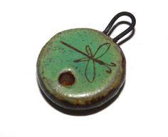 Ceramic Dragonfly Clasp Toggle Stoneware Handmade Patina by Grubbi