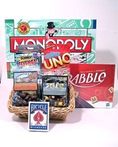 Family Game Night Gift Basket-Fun Gift Basket of games for families with older kids.