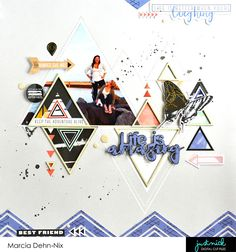 Scrapbook layout created with the PinkFresh Studios Escape the Ordinary collection and digital cut files from JustNick Studios. Chipboard Trianges from Creative Embellishments