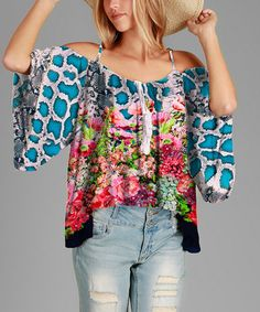 Look what I found on #zulily! Blue & Pink Floral Cape-Sleeve Top - Plus #zulilyfinds
