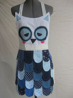 Ready to Ship// White//Adult Rainbow Owl Apron// by ZigZags123