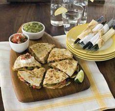 Roasted vegetable and black bean quesadillas: use nonfat Greek yogurt instead of sour cream.