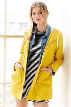 Like outfit! Replace rain jacket with sweater/cardigan. Get mustard anything! Pair with jean jacket and stripes