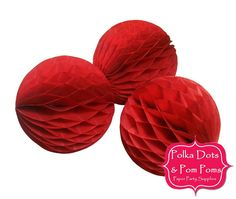 3 x 10cm RED Tissue Paper Honeycomb Balls / by PolkaDotsandPomPoms