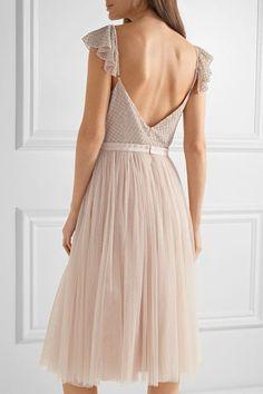 Needle & Thread - Swan Beaded Georgette Dress - Blush - UK
