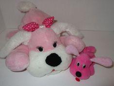 Hot Pink Plush Mom & Baby Dog Stuffed Toy Puppy Surprise Vintage Toy O Rama  #ToyORama