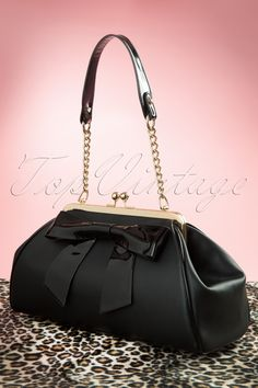 Pinup Couture - 50s Bow Handbag in Matte Black