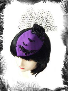 Bats & Rose Cocktail Hat, Gothic, Burlesque. http://www.emeraldangel.co.uk/gothic-bat-fascinator.html