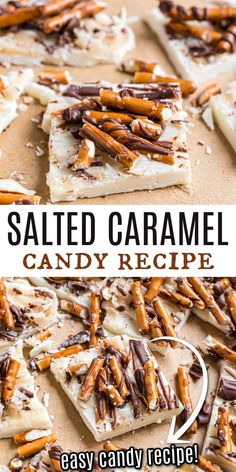 Looking for an easy candy recipe with salted caramel and chocolate? This Salted Caramel Bark is a sweet and salty treat made with white chocolate, salted caramel, pretzels, and finished with a milk chocolate drizzle! Ready in minutes! Easy Candy Recipes, Wine Recipes, Snack Recipes, Snacks, Sweets Recipes, Holiday Desserts, Just Desserts, Delicious Desserts, Holiday Recipes