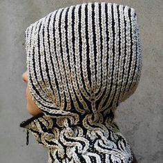 Luxury hand-knitted warm winter hoody-hat with neck warmer - balaclava. Free shipping by Knitted Air
