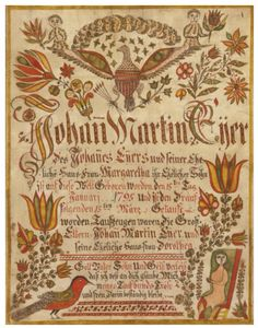 Rare Taufschein for Johann Martin Eyer, Johann Adam Eyer (1755-1837) - Probably Upper Mount Bethel Township, Northampton County, Pennsylvania - Watercolor & ink on paper.   Inscribed (translated from German) recto, ink: Johann Martin Eyer / lawful son of Johannes Eyer & his law / ful wife Margaretha / was born into this world the 15th day / January 1795 & was baptized the / following 15th March / Sponsors were the grand-/ parents Johann Martin Eyer... 9 7/8 by 75/8 in.
