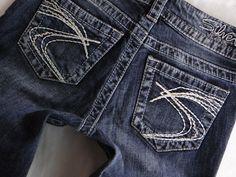 Buckle Silver Women Jeans Berkley Thick Stitch Dark Wash Straight ...