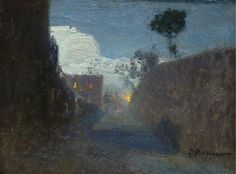 lawrenceleemagnuson:Ivan Pavlovich Pokhitonov (Russia 1850-1923)Moonlit Passage in Jupille (1911)oil on panel 7.5 x 10 cm