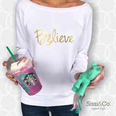We believe in unicorns.  Have you tried Starbucks unicorn frappaccino? Shop our Believe fleece at sissiandco.com Xoxo, Sissi & Co.