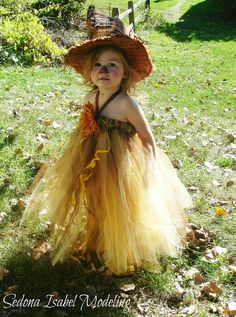 Gorgeous Scarecrow Inspired Fall Full Length Tutu Dress Golden Yellow Brown Orange Halloween Thanksgiving Pictures Dress Up Baby Girls Child