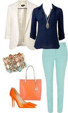 Interesting color scheme...Get inspiration from the 7 following chic business casual for women summer outfits and try to build your own version of the looks in the images.