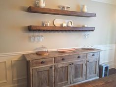 move buffet from kitchen wall to dining room wall. DIY floating shelves with wine glass storage over buffet in dining room Dining Room Storage, Dining Room Furniture, Kitchen Storage, Shelves In Dining Room, Kitchen Shelves, Dining Chairs, Furniture Ideas, Furniture Inspiration, Kitchen Organization