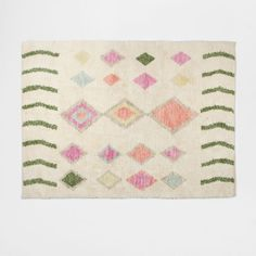 Image of the product Colourful argyle wool and cotton rug