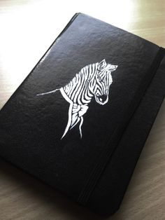 Original Handmade Zebra Notebook, ide for a gift, moleskin, agenda, journal, acrylic painting