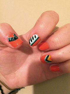 Totally Tribal: Jordan's, 21, awesome tribal nails are a super cute and easy look for fall!