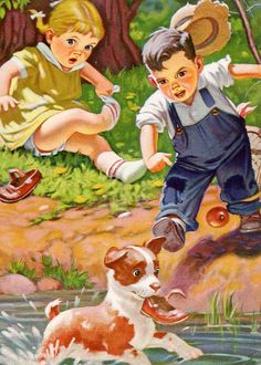 """""""Oh No....the dog has my shoe"""", ️Vintage children's book illustration."""