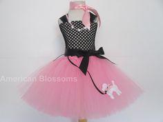 Poodle Dress Pink Poodle tutu dress Sock Hop Costume Pink Lady Costume Girls Costume Pink Black poodle Dress tutu by American Blossoms Pink Lady Costume, Little Girl Costumes, 50s Costume, Tutu Costumes, Costume Ideas, Tulle Dress, Pink Dress, Tutu Dresses, Girls Dresses