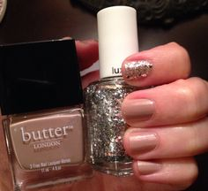 Butter Nail Polish in Yummy Mummy with accent nail in Essie Set In Stones Great nude polish with bling!
