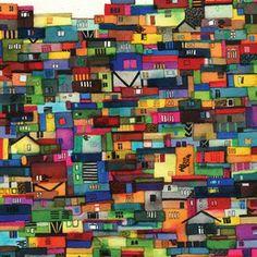 Hillside of Rocinha, Brazil. Illustration by Jennifer Maravillas