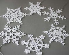 Set van 6 gehaakte sneeuwvlokken, haak kerst versieringen, Kerstdecoratie, witte sneeuwvlokken, kerstboom decor, Kerst ornamenten