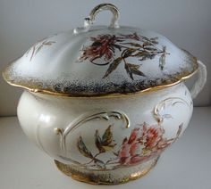 Antique Lee and Smith Co. Taylor Porcelain flowered chamber pot