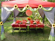 Need to dress up shade areas. Make them into fairy huts Outside Birthday Parties, Picnic Birthday, 4th Birthday Parties, Birthday Party Decorations, 8th Birthday, Ladybug Picnic, Ladybug Garden, Ladybug Party, Ladybug Decor