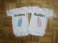 Twin Drinking Buddies baby bottle bodysuit Twin by Youbabyme