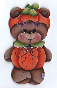 HP TEDDY BEAR Pumpkin Costume FRIDGE MAGNET #Handpainted