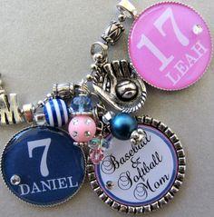 Baseball Mom, Sports Necklace, Football Mom  -Triple Silver Pendant Necklace inTeam Colors - Soccer Mom,Softball, Basketball, Soccer